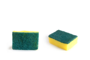 Nylon fiber sponges for cleaning and dishwashing on  white background.