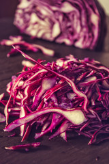 Chopped for salad red cabbage Vegetarian natural eco products Ti
