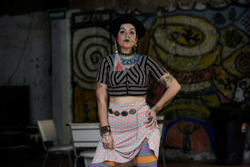 "Gala Lazo Freyman poses for a picture wearing clothes of her creation called ""Mamarracho style"" (Mess style) in Monterrey"