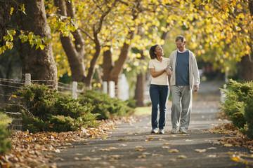 Female nurse helping an elderly man to walk through a park.