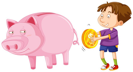 Boy with golden coin and big piggybank