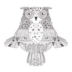 Owl. Silhouette. Black