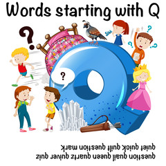 Education poster for words starting with Q