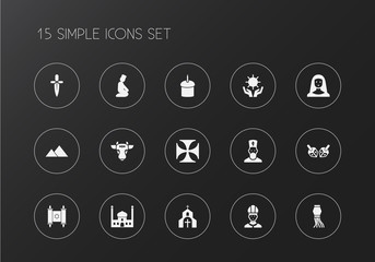 Set of 15 editable faith icons. Includes symbols such as mosque, nun, sun in hand. Can be used for web, mobile, UI and infographic design.