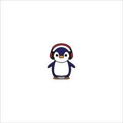 Cute penguin cartoon with red headphones icon, vector illustration