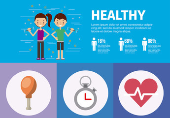 Health and Fitness Infographic with Cartoon-Style Illustrations