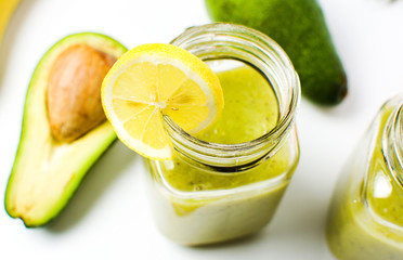 Healthy avocado smoothie in a jar