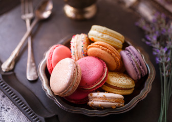 Printed kitchen splashbacks Macarons Still Life of Macarons in Antique Setting