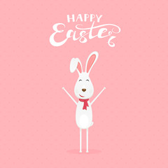 Pink background with happy Easter rabbit