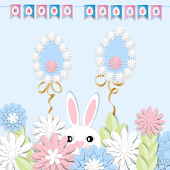 Happy Easter. Festive background with 3d paper flowers, decorative egg and easter bunny. Romantic design with paper cut flovers in pastel colors. For postcards, banners, posters.