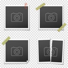 Set of vintage photo frames on transparent background