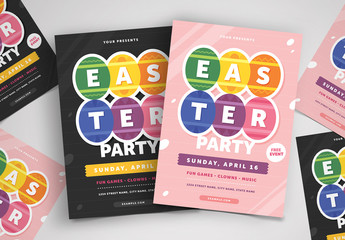 Easter Party Flyer Layout with Decorative Egg Illustrations