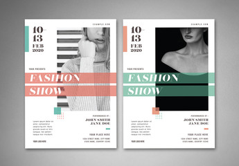 Fashion Show Flyer Layout with Geometric Elements