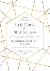 Wedding invite, save the date card delicate design with golden foil graphic stripes & hexagonal geometrical frame. Vintage art decorative, geometrical border. Elegant, lovely, luxury vector template