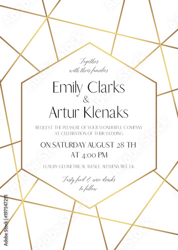 Wedding Invite Save The Date Card Delicate Design With Golden Foil