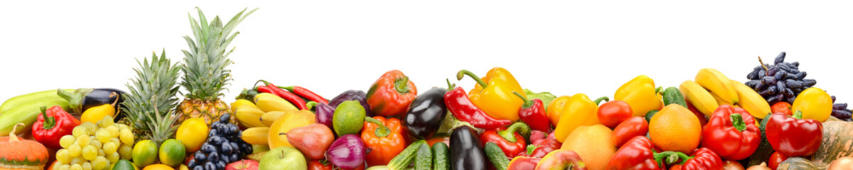 Panorama of healthy vegetables and fruits isolated on white background.