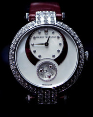 A watch of Harry Winston is displayed at the Baselworld watch and jewellery fair in Basel