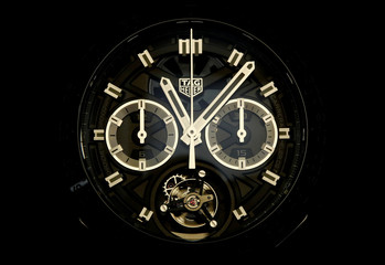 """A Carrera """"Tete De Vipere"""" Chronograph Tourbillon Chronometer watch of Swiss watch manufacturer TAG Heuer is seen at the Baselworld watch and jewellery fair in Basel"""