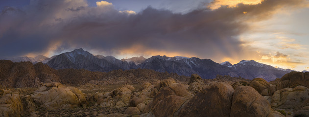 USA, California, Alabama hills, Snowcapped mountains at sunset