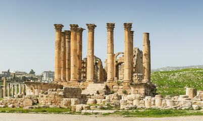 little group of columns and ruins of antique cathedral
