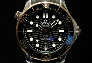 Seamaster Professional Co-Axial Chronometer 300m/1000ft watch of Swiss manufacturer Omega is displayed at Baselworld fair in Basel