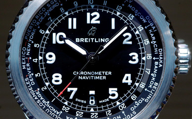 A Navitimer I watch of Swiss manufacturer Breitling is displayed at the Baselworld watch and jewellery fair in Basel
