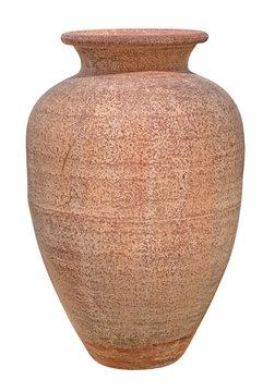 Terracotta pottery vase isolated on white