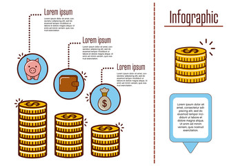 Money and Finance Infographic with Line Art Illustrations