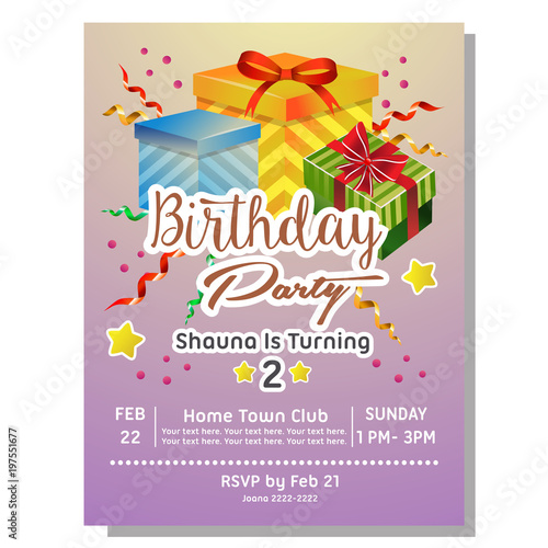 2nd Birthday Party Invitation Card With Giftbox