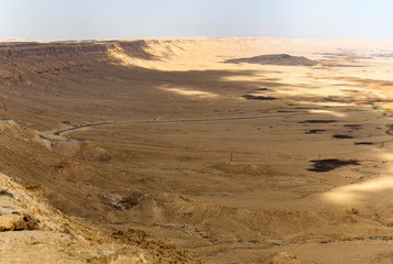Panoramic view on biggest canyon in Israel Mizpe Ramon in Negev