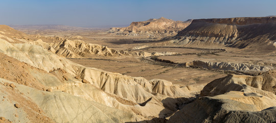 Panoramic view on biggest canyon in Israel Mizpe Ramon in Negev desert