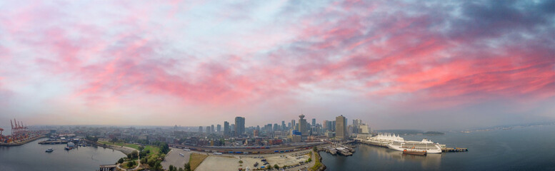 Vancouver at sunset, panoramic aerial view Wall mural