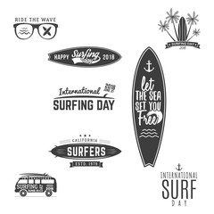 Vintage Surfing Graphics and Emblems for web design or print. Surfer logo templates. Surfing Graphics Templates, Badges. Summer fun. Surfboard elements. Outdoors activity. Vector hipster patches