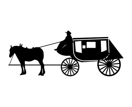 Old, vintage stage coach silhouette
