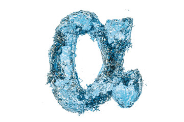 Water letter alpha, 3D rendering