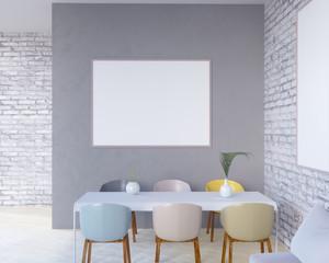 Concept interior, mock up poster on wall, 3d illustration render,  rendering,  retro,  room,  scandinavian,  shine,  studio,  style,  table,