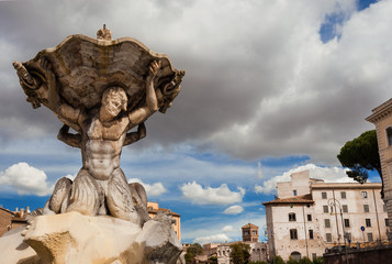 Fountain of the Tritons, beautiful baroque fountain completed in 1715, in the historic center of Rome