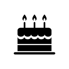 birthday cake icon silhouette isolated vector