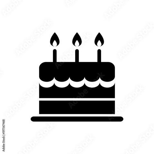 """birthday Cake Icon Silhouette Isolated Vector"" Stock"