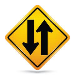 International Two Way Traffic Symbol,Yellow Warning icon on white background, Attracting attention,Compulsory, Control ,practice, Security first sign, Idea for graphic,web design,vector,EPS10.
