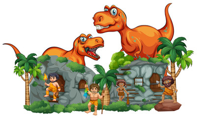 T-Rex and cavemen at stonehouse