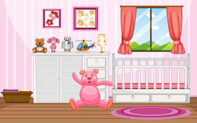 Bedroom scene with pink teddybear and white crib