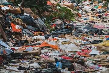 trash closeup, garbage dump, waste desposit - environmental pollution