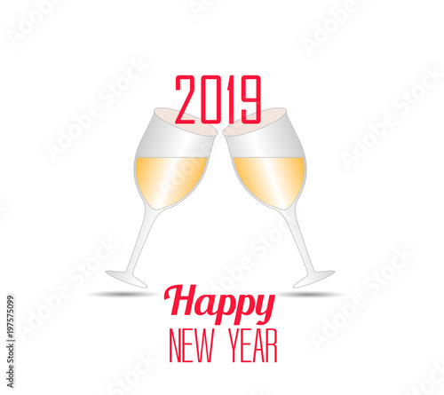 happy new year 2019 with champagne glasses