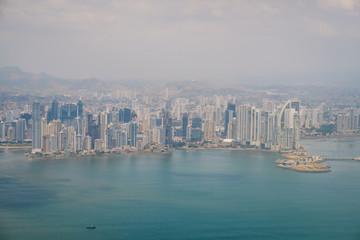 Panama City aerial - skyscraper skyline and coast view of Panama city