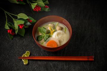お雑煮 miso soup with rice cakes and vegetables