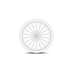 Bicycle wheel in white design with shadow