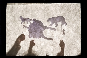Children play in the shadow theatre. Puppet theatre. Childhood. Tale.
