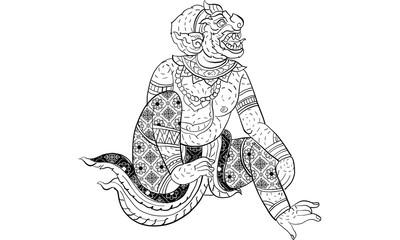 Thai traditional painting, tattoo Hanuman