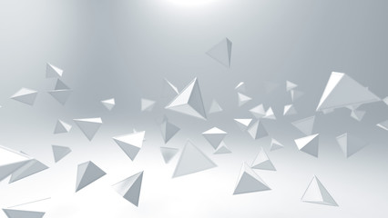 3d rendering of triangle geometric shapes , abstract high key and selected focus background .